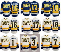 Hockey Jersey Hanson Brother 1# 3# 7# 16# 17# 18# Charlestown Chiefs Ice Hockey Jersey Retro All Stitched