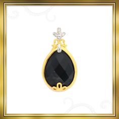 Look gorgeous in this Black Onyx and White Topaz pendant that is made in Gold Plated Sterling Silver | Shipping across India
