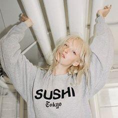 SUSHI.  via @petalspeacocks #girl | #fashion | #style | #babe | #ootd | #itgirl | #model | #outfit | #musthave | #streetstyle | #hisssyfit | #sushi | #sweatshirt | #petalsandpeacocks | #shop | #blonde | #cute