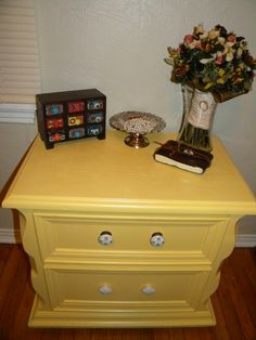 Yellow Side Table Refinish