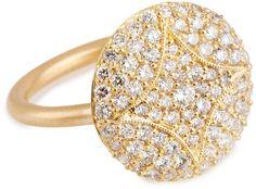 Jamie Wolf Aladdin 18k Pave Diamond Disc Ring, 5/8