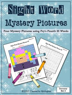 Winter Fun is here with my Sight Word Mystery Pictures JANUARY SET #2 of 2. Your students will love coloring these all new WINTER themed mystery pictures. January Set 1 includes the following pictures:  -Penguin  -Pine Tree  -Winter Girl  -Snowman #2  ($)