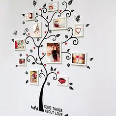 Black DIY Family Photo Frame Tree Butterfly Flower Mural Wall Sticker Home Décor