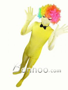 24.Yellow and White Grandual Change Color Spandex Full Body Costume
