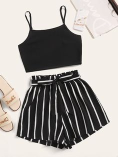 Shein Crop Cami Top With Striped Self Tie Shorts Source by ShopStyle Outfits shorts Cute Lazy Outfits, Teenage Girl Outfits, Crop Top Outfits, Girls Fashion Clothes, Summer Fashion Outfits, Teenager Outfits, Mode Outfits, Simple Outfits, Pretty Outfits