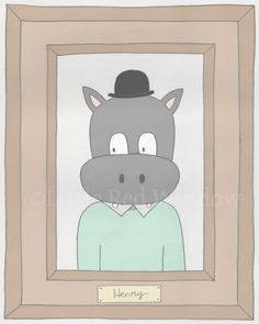 Henry the Serious Hippo Animal Portrait Printable Print -- 8 x 10  by LittleRedWindow