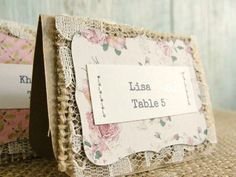 SAMPLE Escort Card Wedding Reception Place Seating Tag, Unique Rustic Party Shower Burlap Lace Kraft