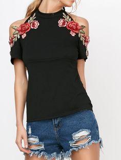$9.17  Flower Embroideried Cold Shoulder Halter T-Shirt in Black | Sammydress.com