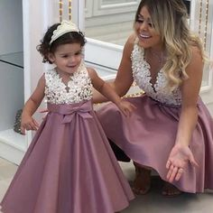 Cute Pearls Beaded Lace Satin Mother And Daughter Dresses Mini Me Gowns on Luulla