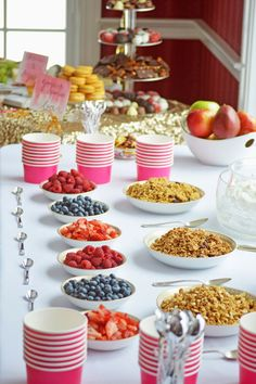 Bridal shower parfait bar - fruit, granola, and yogurt [Courtesy of One Brass Fox}