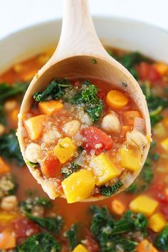 Fall Vegetable Quinoa Soup Recipe on twopeasandtheirpod.com This easy and…