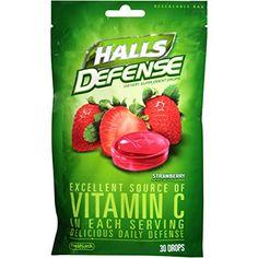 HALLS Defense Vitamin C Supplement Drops Strawberry 30 Drops 12 Pack 360 Drops Total * Visit the image link more details.
