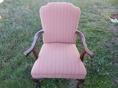 Iona - Pink Stuffed Chair with Wooden Arms