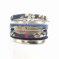 Bracelet manchette liberty bleu fonçé avec cuir argenté