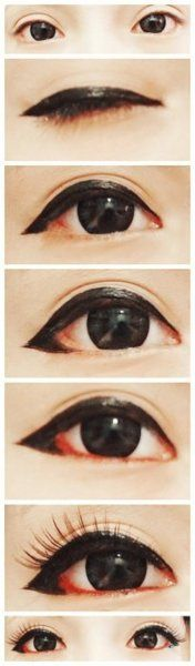 wings that go down instead of up - perfect for the classic ulzzang droopy/sad/puppy eye look