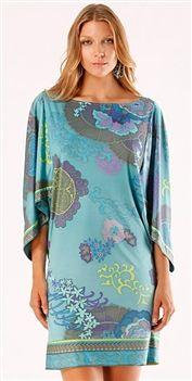 Hale Bob  In Full Bloom Silk Jersey Shift Dress/ Convertible Tunic