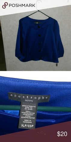"""Beautiful blue satin cropped jacket This is being """"re-poshed,"""" not because there's anything wrong with it...at all. The quality is excellent, and it's still got the tags. When it arrived, and I tried it on, it just wasn't as """"me"""" as I thought or hoped it would be. Size XL Petite, and cropped style. Snap closures in front. Jackets & Coats"""