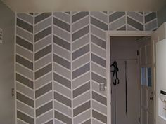 "how to paint herringbone on a wall For Master, increase space between vertical lines to 24"" and the space between rungs to 12"""