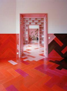 Pink/Red/Orange marmoleum-so cool-craft room floor idea...