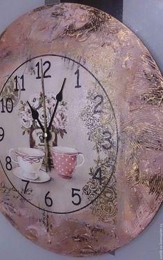 """Купить Часы настенные """"Чаепитие"""", декупаж - подарок на 8 марта, подарок девушке"""