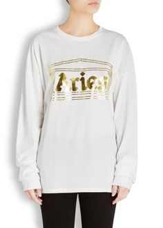 White foiled logo cotton top - Aries