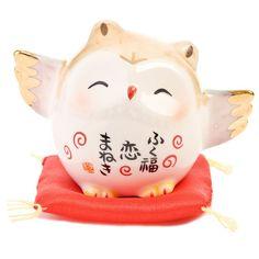 Love Midi Owl - Japanese Maneki Neko - Good Luck Fortune Animals