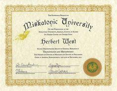 Custom personalized Miskatonic University diploma, 8.5x11