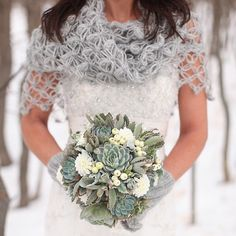 A #handmade crocheted shawl is the perfect bridal accessory for wedding portraits in the winter snow. LOVING this one from Cilem of Moda Crochet / photo by @amysuephotography > You Can Shop for the Shawl Here www.liketk.it/2bste #liketkit @liketoknow.it by weddingsites