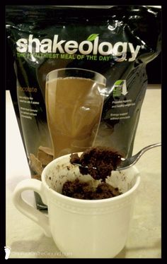 mug cake. Works for the 21 Day Fix! I will definitely try this to satisfy my sweet tooth. Protein Desserts, Shakeology Mug Cake, Chocolate Shakeology, Shakeology Shakes, 21 Day Fix Desserts, Beach Bodys, Beachbody 21 Day Fix, 21 Day Fix Diet, 21 Day Fix Extreme