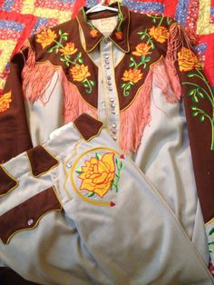 vintage western wear, embroidered suit with fringe