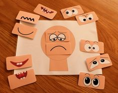 This Make a face resources has 12 different sets of eyes and mouths and a set of emotions vocabulary flash cards. Help children to learn about emotions. Emotions Game, Emotions Preschool, Emotions Activities, Feelings And Emotions, Learning Activities, Preschool Activities, Teaching Resources, Teaching Emotions, Feelings Chart