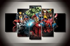 5 Piece Multi Panel Modern Home Decor Framed Avengers Marvel Comics Super Heroes Wall Canvas Art Frames For Canvas Paintings, Canvas Artwork, Canvas Wall Art, Painting Canvas, The Avengers, Avengers Room, Marvel Kids, Marvel Comics, Marvel Canvas
