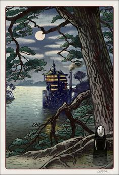 Magical Landscapes of Japan- Spirited Away 8 x 10 signed print Joe Hisaishi, Japanese Landscape, Fantasy Landscape, Hayao Miyazaki, Totoro, Art Studio Ghibli, Spirited Away, Japanese Prints, Japanese Art
