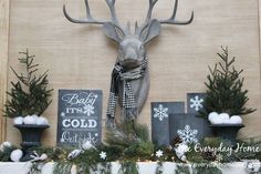 an easy winter mantel and 5 free winter printables, fireplaces mantels, home decor, seasonal holiday decor, My Winter Mantel featuring Mr Buck Winter Home Decor, Winter House, Christmas Mantels, Christmas Decorations, Christmas Crafts, Christmas Fireplace, Fireplace Mantel, Christmas Printables, Christmas Recipes