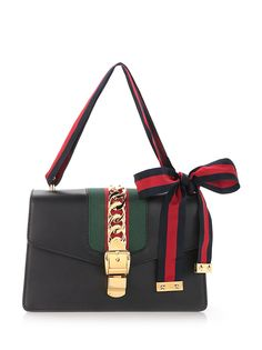 GUCCI Black 'Sylvie' Shoulder Bag In Calf Leather. #gucci #bags #shoulder bags… WOMEN'S ACCESSORIES http://amzn.to/2kZf4gO