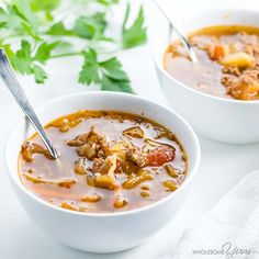 Learn how to make cabbage soup with ground beef, in a Crock Pot or Instant Pot. Simply the BEST cabbage soup diet recipe - or just a delicious dinner!