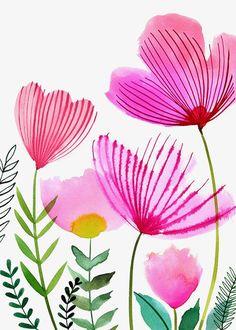 70 Ideas flowers acuarela illustration floral for 2019 Watercolor Cards, Watercolour Painting, Watercolor Flowers, Painting & Drawing, Watercolors, Watercolor Wallpaper, Art Floral, Motif Floral, Floral Patterns