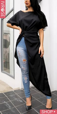 Buy Black Cotton Silk Embroidered Slit Kurti Online in India - Her Crochet African Print Fashion, African Fashion Dresses, Indian Fashion, Dame Chic, Mode Kimono, Chic Outfits, Fashion Outfits, Dress Indian Style, Kurti Designs Party Wear