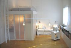 bunk bed with self contained space beneath - stylish in white with sand last glass