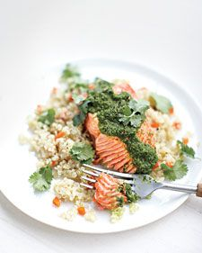 The subtle, nutty flavor of quinoa goes well with steamed salmon and Moroccan spices.