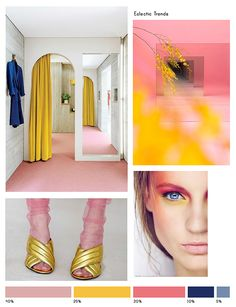 Color Inspiration No.16: Antique Rose, Canary, Rouge, Navy & Blue Gray via Eclectic Trends