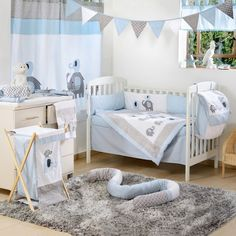 Blue Elephant Crib Collection 4 Pc Crib Bedding Set