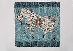 Large Square Silk Scarf Twill  100% Silk horse and by SummerMatcha