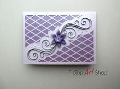 Homemade Quilled Wedding Card in Purple and Silver