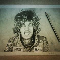 Marco Simoncelli, ritratto eseguito a matita su foglio F4 liscio 24x33