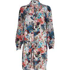 Grey floral print shirt dress £45.00
