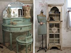 Painted Vintage Furniture... so pretty! I can in vision myself in this scene waiting for a dapper gentleman to whisk me away!