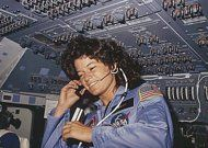 NASA photo taken in 1983 shows America's first woman astronaut Sally Ride, as she communicates with ground controllers from the flight deck during the six day space mission of the Challenger. Ride died on Monday after a 17-month battle with pancreatic cancer, her foundation announced. She was 61. (AFP Photo/)