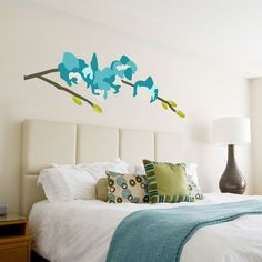 """""""Orchid Arrangement Series #71 - Turquoise"""" designer wall decals by Andy Anh Ha for GreenBox Art + Culture $119"""