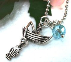 Fisherman and Boat with Fish Charm Necklace Fish by CharmAccents, $12.50
